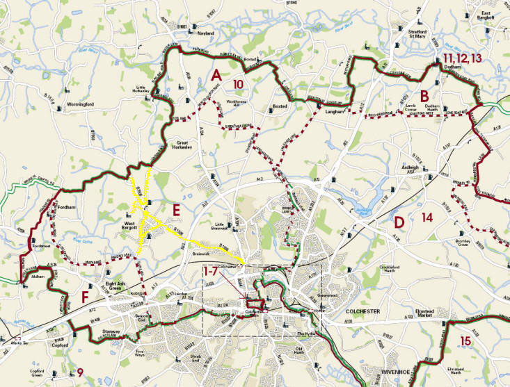 Cycling routes around West Bergholt