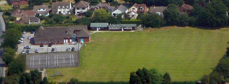 Aerial view of Orpen Hall - the social hub of the village