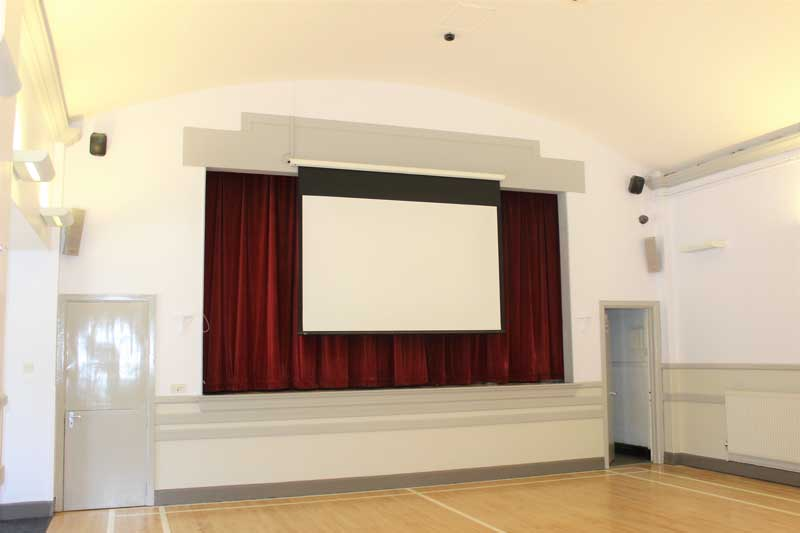 View of screen on stage