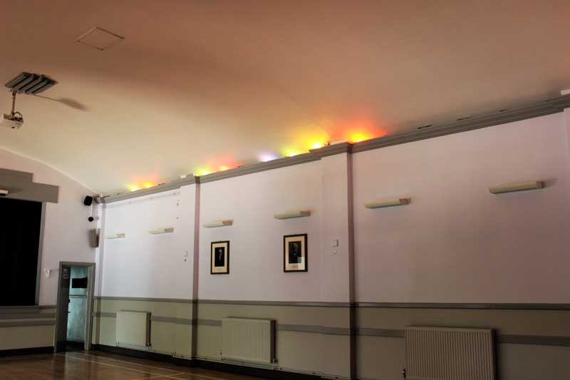 View of coloured uplights to ceiling