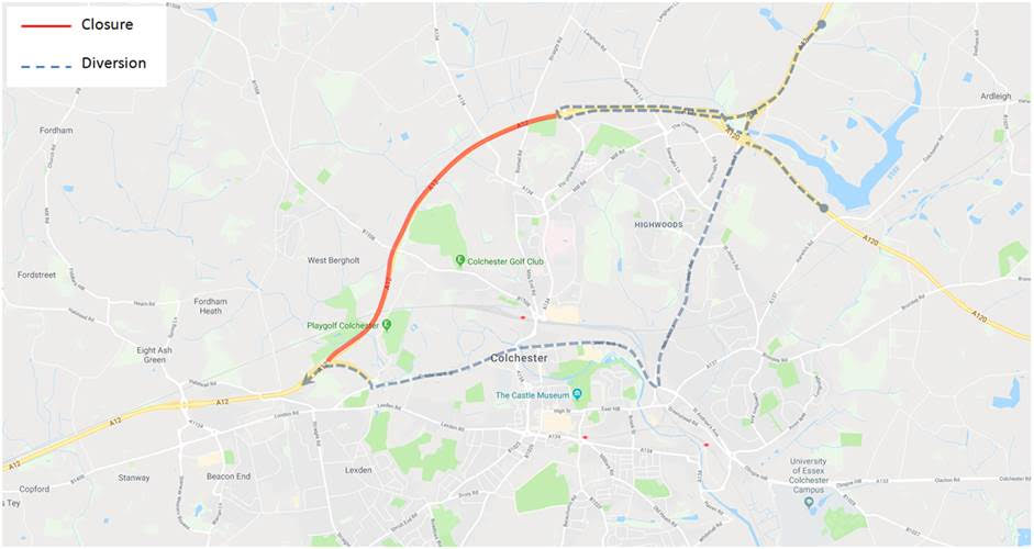 Diversion route for closure of A12