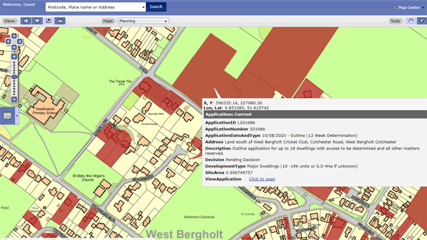 Screen shot of CBC's Planning Application mapview.
