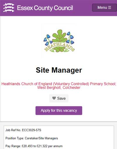 Site Manager vacancy advert online